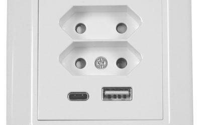 Vegguttak 2xEuro og USB A+C hurtiglader